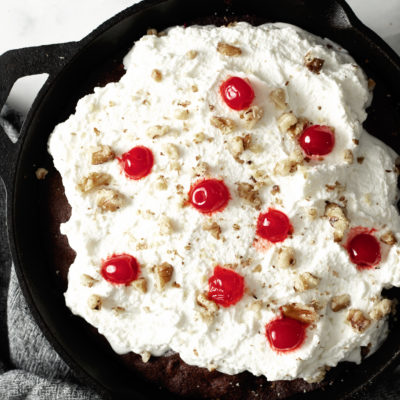 Black Forest Cherry Brownies in cast iron skillet
