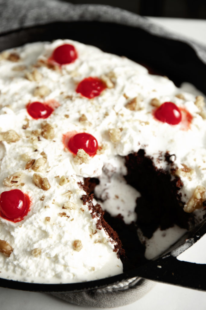 Decadent Black Forest Brownies in cast iron
