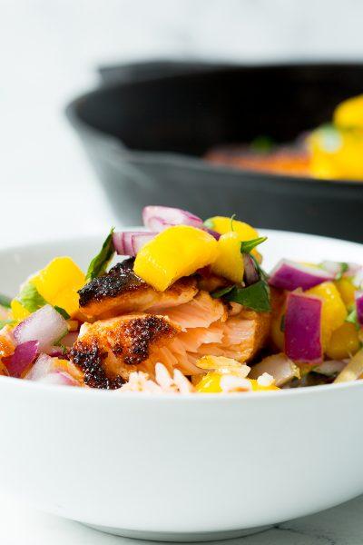 bowl of blackened salsa with mango salsa on top