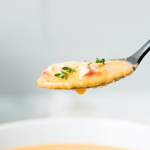 spoon full of Dutch Oven Lobster Bisque
