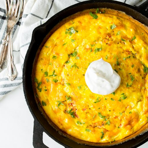 Mexican frittata with sour cream on top