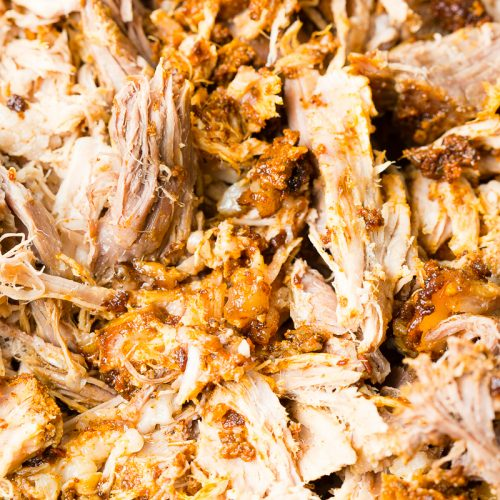 close up of the seasoned and cooked shredded pork