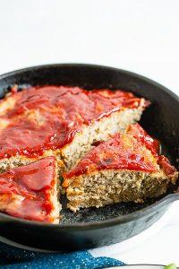 Ground Turkey Meatloaf sliced in a cast iron skillet